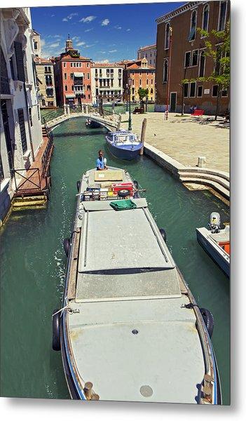 Longboat In Venice Metal Print by Rick Starbuck