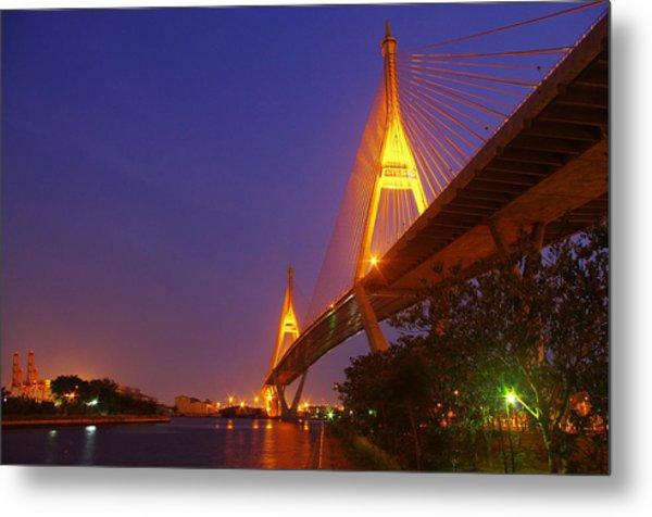 Longest Bridge In Bangkok Metal Print by Panitsak Kunwong