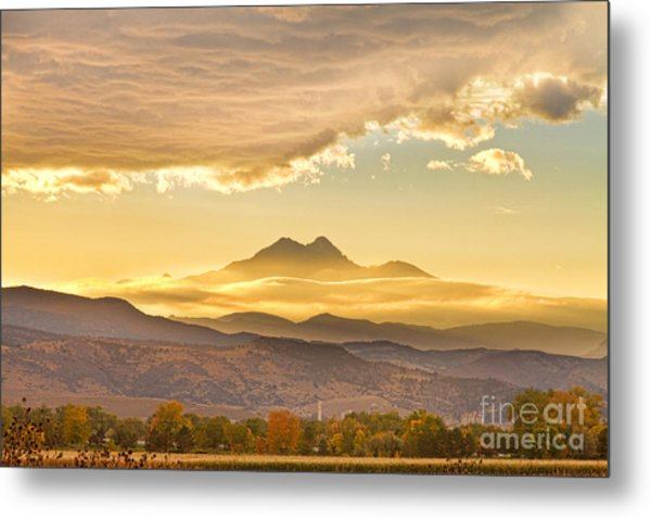 Longs Peak Autumn Sunset Metal Print