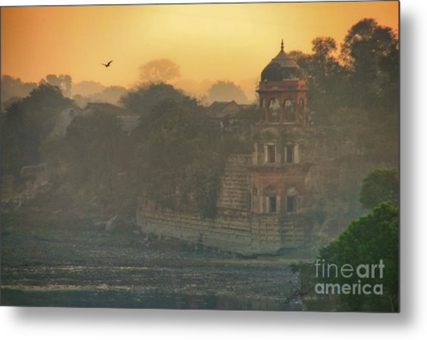 Looking Back From The Taj Mahal Metal Print