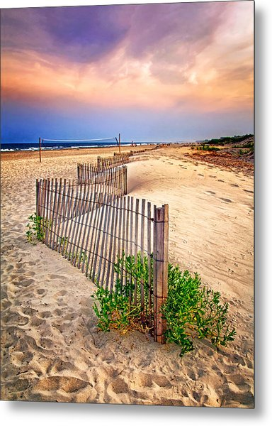 Looking Down The Beach Metal Print