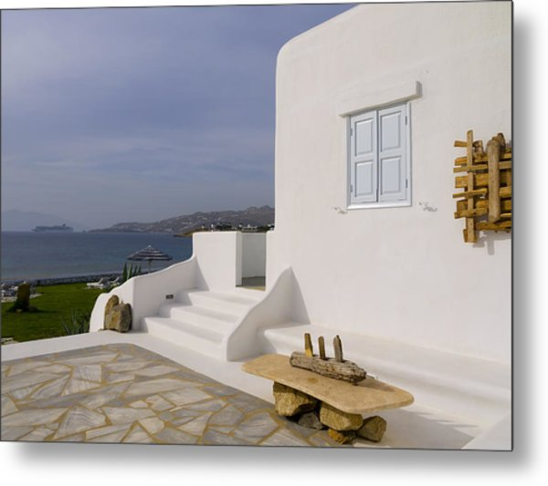 Looking Out To Sea In Mykonos Metal Print