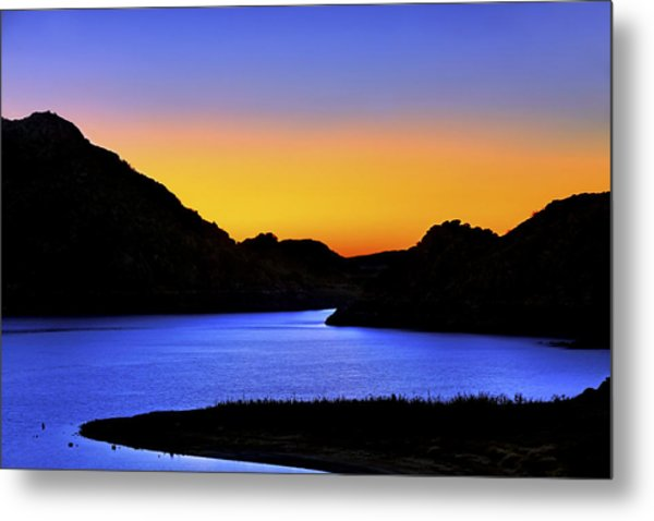 Looking Through The Quartz Mountains At Sunrise - Lake Altus - Oklahoma Metal Print