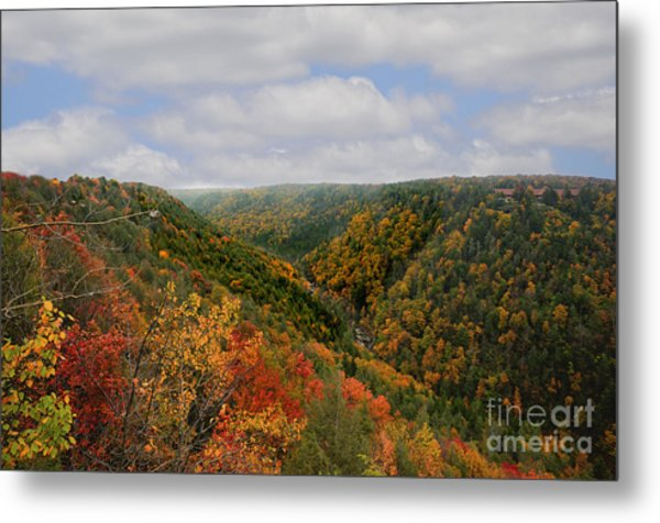Looking Upriver At Blackwater River Gorge In Fall From Pendleton Point Metal Print