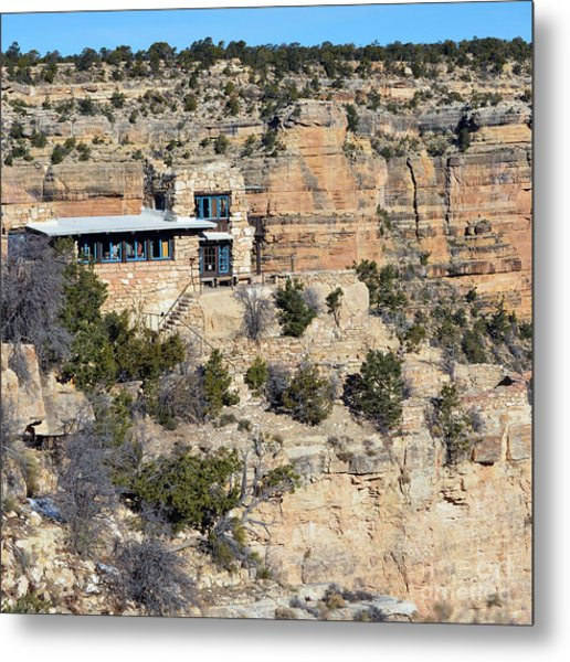 Lookout Studio At The Start Of The Bright Angel Trail Grand Canyon National Park Square Metal Print
