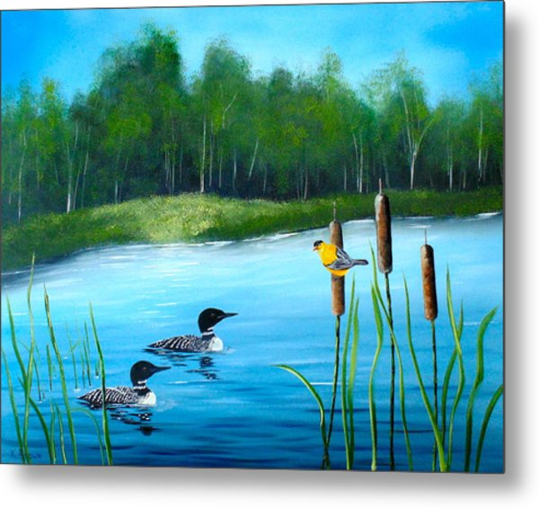 Metal Print featuring the painting Loons In A Lake by Kevin  Brown