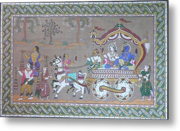 Lord Krishna With Brother Visiting Mathura Metal Print by Prasida Yerra