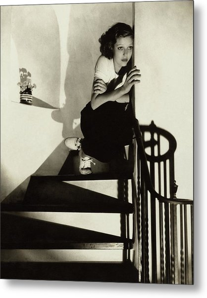 Loretta Young Sitting On A Staircase Metal Print
