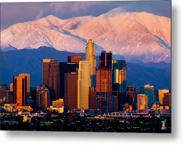 Los Angeles In Winter Metal Print