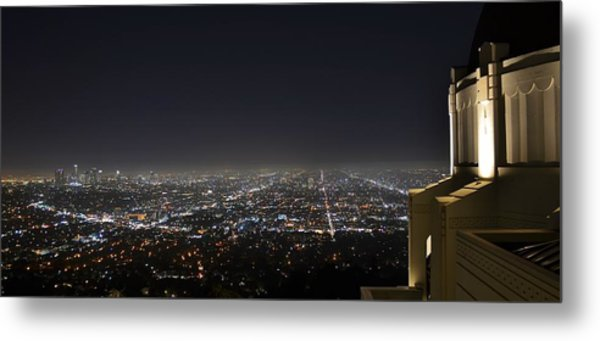 Los Angeles Skyline Panorama From The Griffith Observatory Metal Print by David Lobos