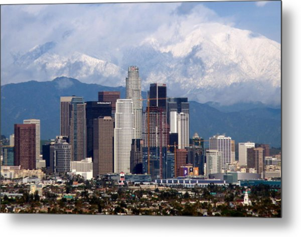 Los Angeles Skyline With Snowy Mountains Metal Print