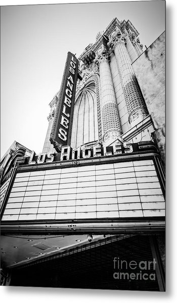 Los Angeles Theatre Sign In Black And White Metal Print by Paul Velgos