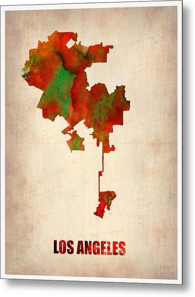 Los Angeles Watercolor Map Metal Print by Naxart Studio
