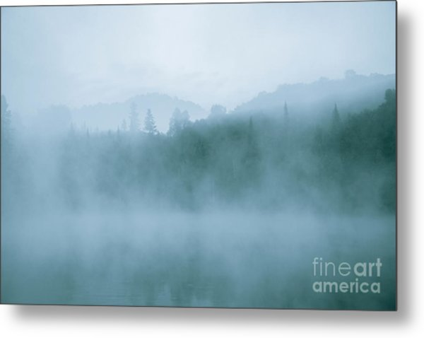 Lost In Fog Over Lake Metal Print