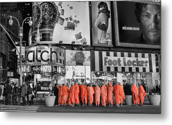 Lost In Times Square Metal Print