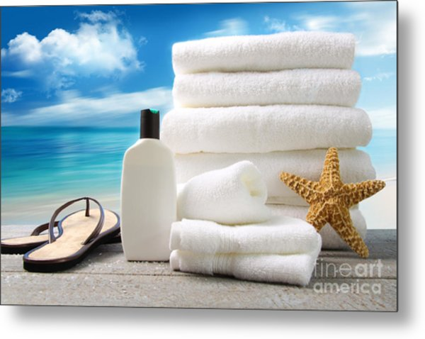 Lotion  Towels And Sandals With Ocean Scene Metal Print