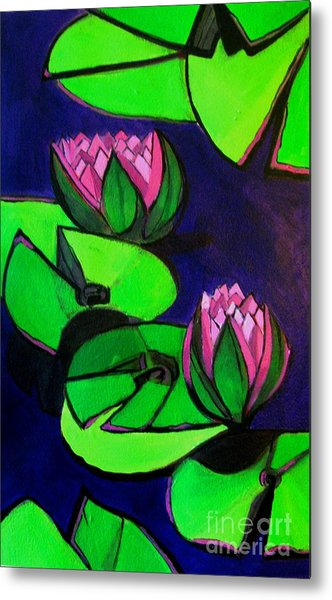 Lotus 2 Botanical Flowers Metal Print