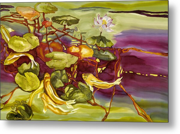 Lotus And Goldfish Metal Print
