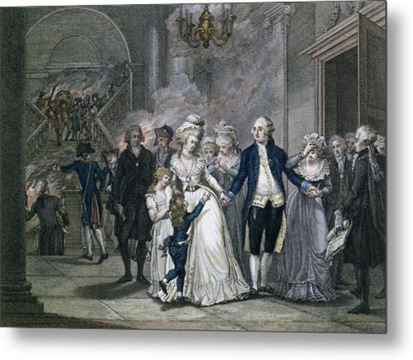 Louis Xvi 1754-93 Bidding Farewell To His Family, 20th January 1793, Engraved By Reinier Vinkeles Metal Print