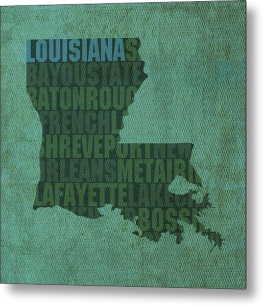 Louisiana Word Art State Map On Canvas Metal Print