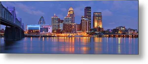 Louisville Skyline At Dusk Sunset Panorama Kentucky Metal Print