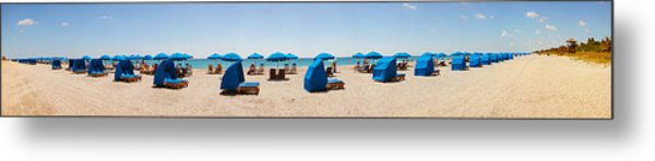 Lounge Chairs On The Beach, Delray Metal Print