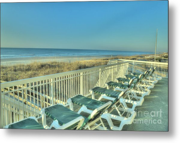 Lounge Chairs Overlooking Beach Metal Print