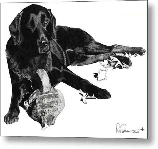 Metal Print featuring the drawing Lounging Lab by Rob Christensen