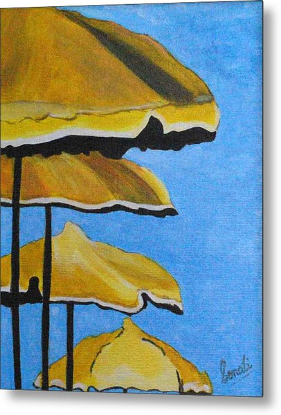 Lounging Under The Umbrellas On A Bright Sunny Day Metal Print