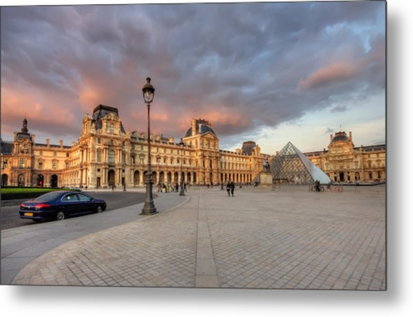Louvre Museum At Sunset Metal Print by Ioan Panaite