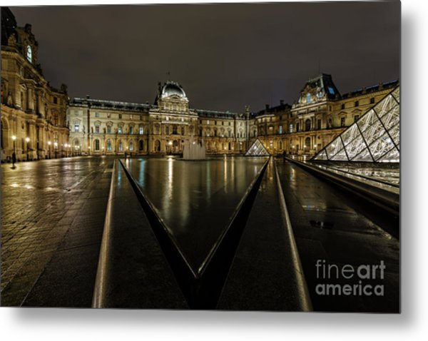 Louvre Pyramid And Pavillon Richelieu Metal Print by Rostislav Bychkov