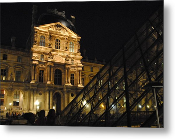 Louvre With Pyramid - Nite Metal Print by Jacqueline M Lewis