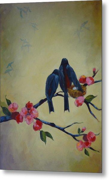 Love Birds Empty Nest Metal Print by Kelley Smith