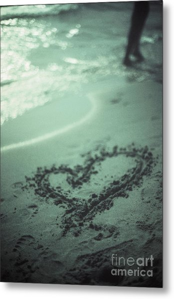 Love Heart Drawn On Beach Sand At Low Tide With Ocean Sea Metal Print by Edward Olive