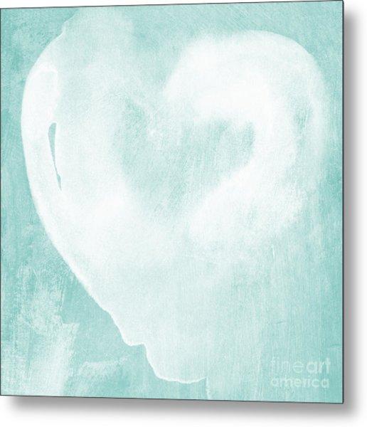 Love In Aqua Metal Print