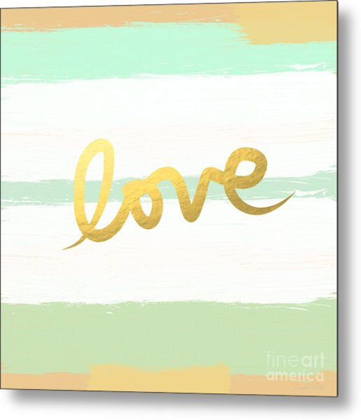 Love In Mint And Gold Metal Print