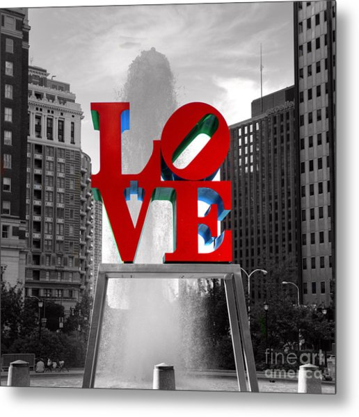 Love Is Always Black And White Square Metal Print