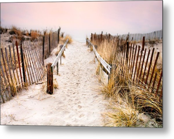 Love Is Everything - Footprints In The Sand Metal Print