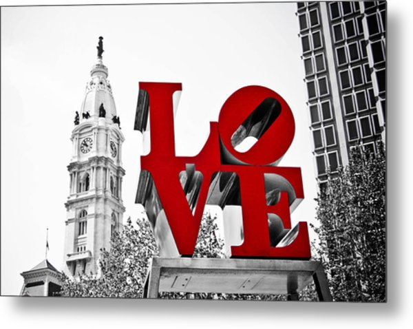 Love Park And City Hall Bw Metal Print