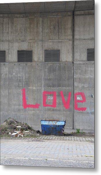 Love - Pink Painting On Grey Wall Metal Print