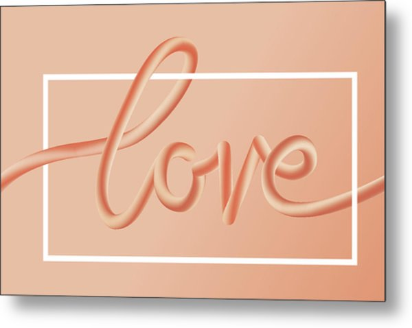 Love Text Lettering In Red Color Metal Print