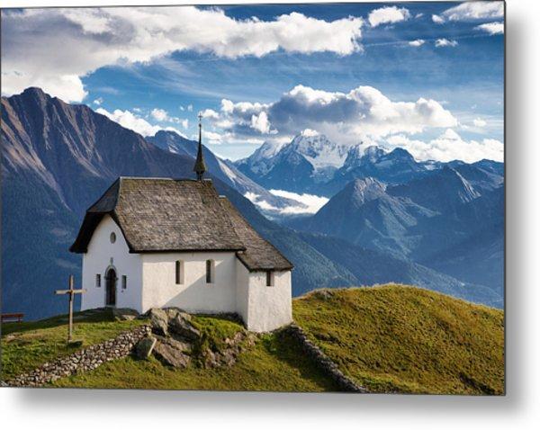 Lovely Little Chapel In The Swiss Alps Metal Print