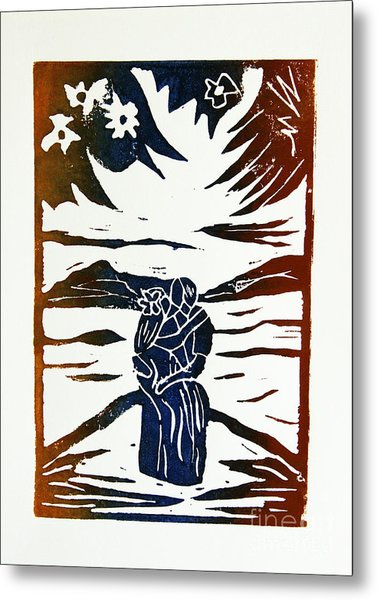Lovers - Lino Cut A La Gauguin Metal Print