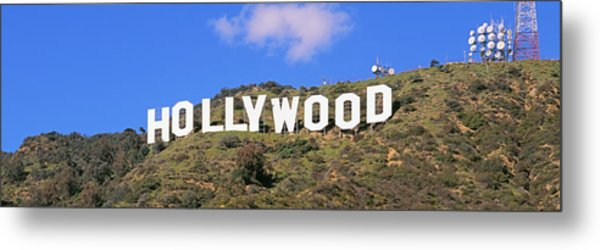 Low Angle View Of A Hollywood Sign Metal Print