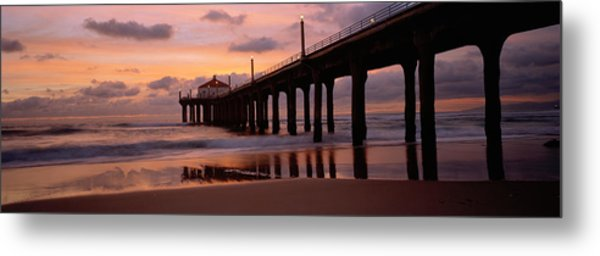 Low Angle View Of A Hut On A Pier Metal Print