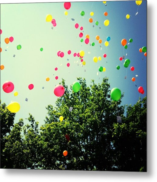 Low Angle View Of Balloons Metal Print by Christin Borbe / Eyeem