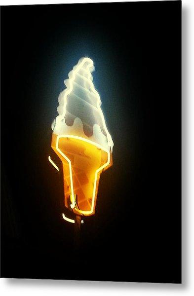 Low Angle View Of Ice Cream Neon Sign Metal Print by Scott Crayne / Eyeem
