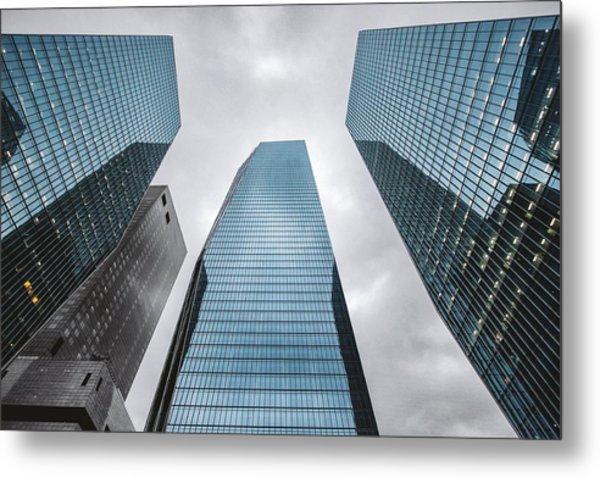 Low Angle View Of Modern Buildings Metal Print by Oliver Byunggyu Woo / Eyeem