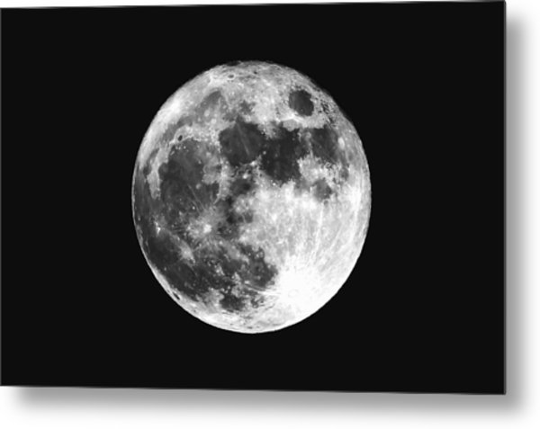 Low Angle View Of Moon Against Clear Sky At Night Metal Print by Mark Sutton / EyeEm