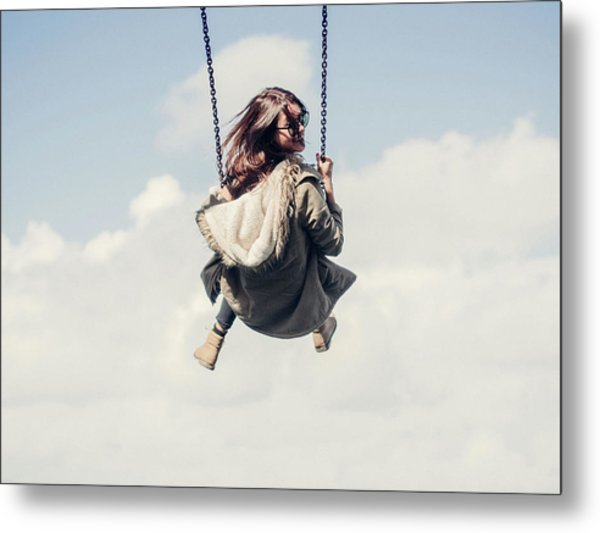 Low Angle View Of Woman On Swing Metal Print by Denise Kwong / Eyeem